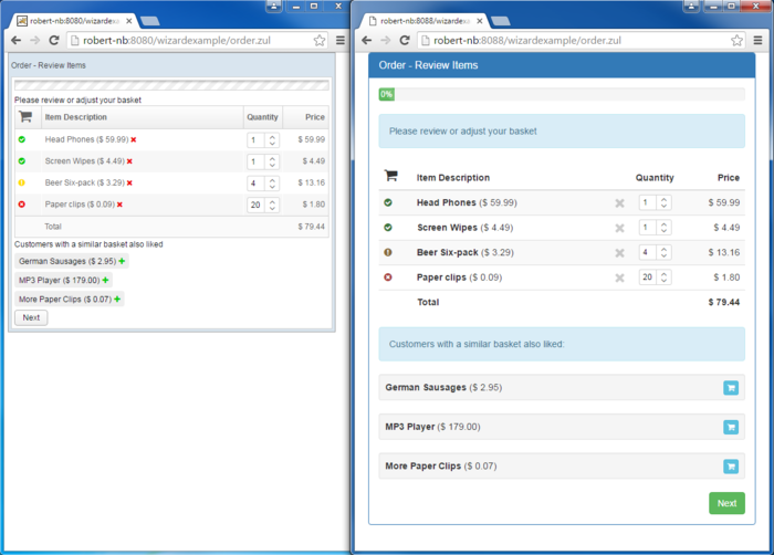 original style (left) <-> after bootstrap makeover (right)
